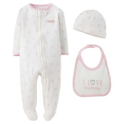 Precious Firsts™Made by Carter's® Newborn Girls' 3 Piece Sleep N' Play Set 9 M