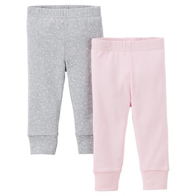 Precious Firsts™Made by Carter's® Newborn Girls' 2 Pack Pant - Pink/Grey 9 M