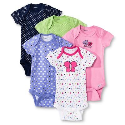 Gerber® Newborn Girls' 5 Pack Butterfly/Flower Onesie® NB