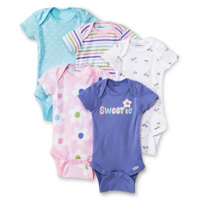 Gerber® Newborn Girls' 5 Pack Flower and Stripe Onesie® Set NB