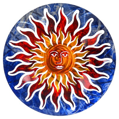 3D Wall Art Sun Face - Blue/Red