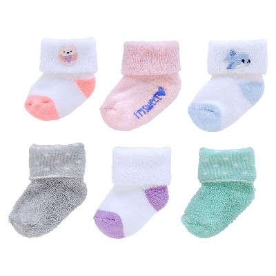 Just One You™Made by Carter's® Newborn Girls' 6 Pack Terry Cuff Casual Socks 0-3 M