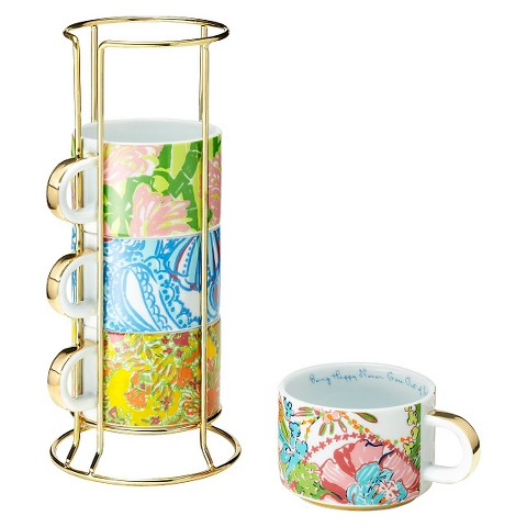 Lilly Pulitzer for Target Ceramic Mugs with Gold Caddy -Set of 4