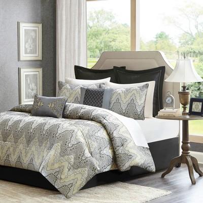 Astoria 12 Piece Jacquard Comforter Set - Grey (King)