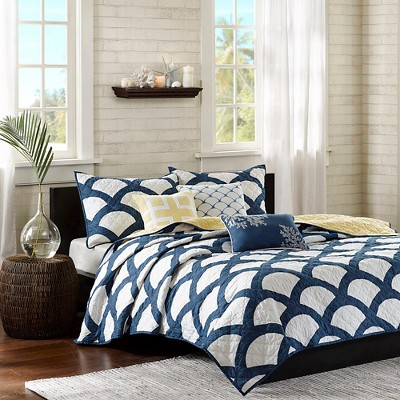 Aruba 6 Piece Quilted Coverlet Set - Blue (Queen)