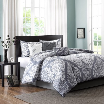 Adela 7 Piece Printed Comforter Set - Slate (Queen)