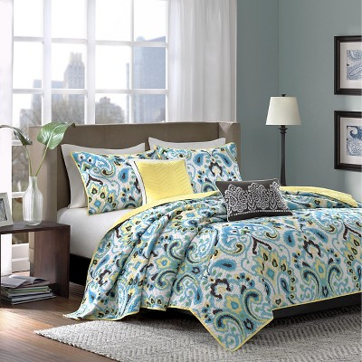 Cadence 5 Piece Quilted Coverlet Set - Blue (Queen)