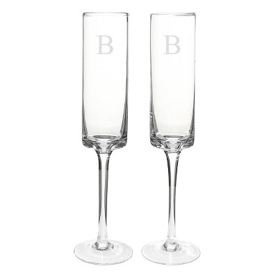 Monogram Contemporary Wedding Champagne Flutes - 2 ct.