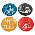 Threshold™ Appetizer Plates Set of 4 - Black Red Yellow & Aqua with Qoutes