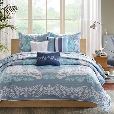 Jensen 6 Piece Quilted Coverlet Set - Blue (Queen)