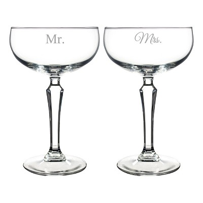 Mr. & Mrs. Wedding Champagne Coupe Toasting Flutes - 2 ct.