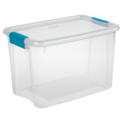 Sterilite® Ultra™ Clear Storage Tote - Transparent with Blue Latches 30Qt.