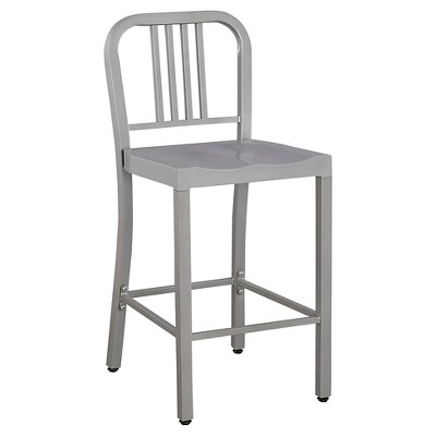 "Low Back 24"" Counter Stool Metal/Silver - Ace Bayou"