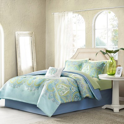 Piper 9 Piece Comforter Set - Aqua (Queen)