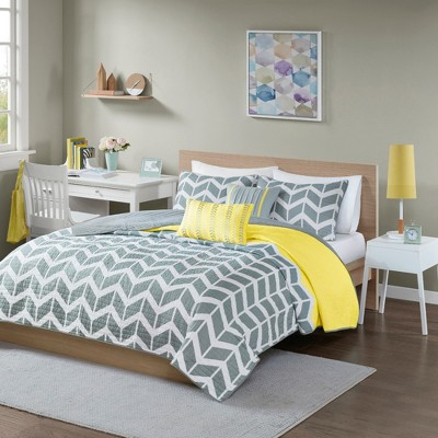 Darcy 5 Piece Quilted Coverlet Set - Yellow (Full/Queen)