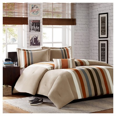 Spencer 4 Piece Comforter Set - Khaki (Full/Queen)