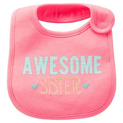 Just One You™Made by Carter's® Newborn Girls' Just Like My Sis Bib Pink