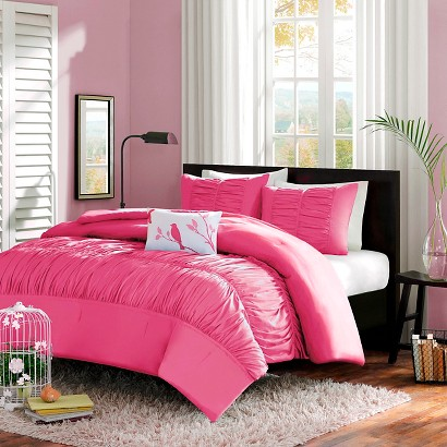 Haley 4 Piece Comforter Set - Pink (Full/Queen)