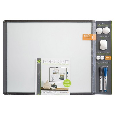 "Ubrands Mod Frame Dry Erase Board with 2 Markers, Magnets, and Mini Eraser, 16"" x 20"" - Gray"