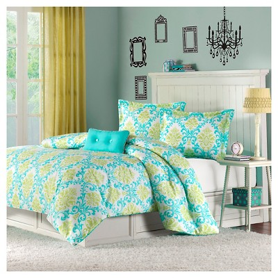 Bella 4 Piece Duvet Cover Set - Teal (Full/Queen)