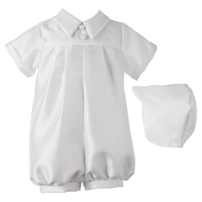 Small World Newborn Boys' Romper with Pleat Front - White 0-3 M