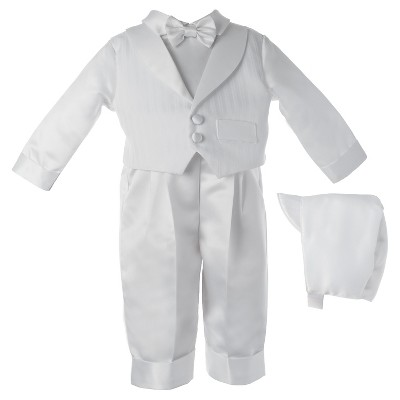 Small World Newborn Boys' Long Pant Set with Embroidered Vest - White 6-9 M