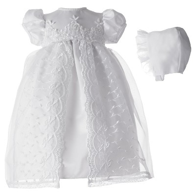 Small World Newborn Girls' Organza Embroidered Dress - White 0-3 M