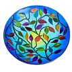 Foliage Glass Birdbath - Multicolor