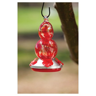 Glass hummingbird feeder - Red