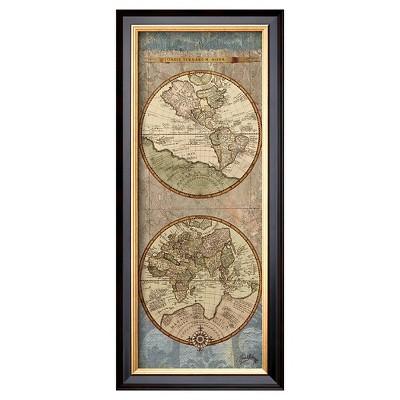 Art.com - World Map Panel II by Elizabeth Medley - Framed Print