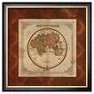 Art.com - Red Damask Map II by Elizabeth Medley - Framed Print