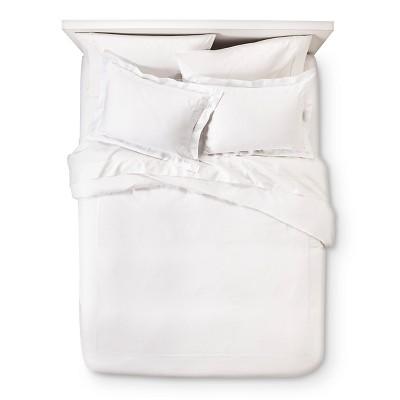 Wrinkle Resistant Verona Embroidery Duvet Cover Set - White (King)