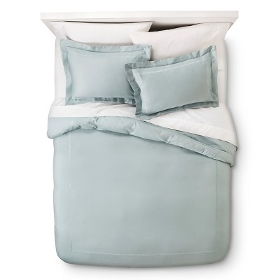 Wrinkle Resistant Verona Embroidery Duvet Cover Set - Blue (Full/Queen)
