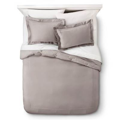 Wrinkle Resistant Verona Embroidery Duvet Cover Set - Gray (Full/Queen)