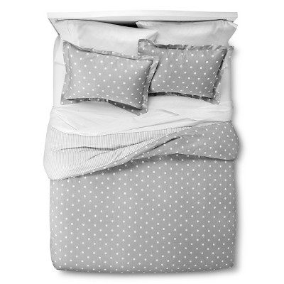 Dots and Stripes Reversible Duvet Cover Set - Grey (King)