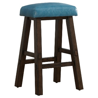 Counter Height Stools Target : American Heritage Saddle Bar Height Stool - Brown/Aqua product details ...