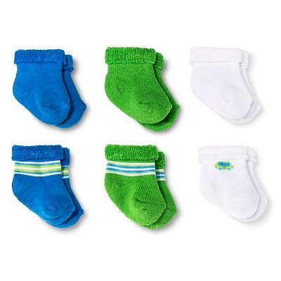 Newborn Boys' 6-Pack Ankle Socks - Blue/Green/White 0-3 Months