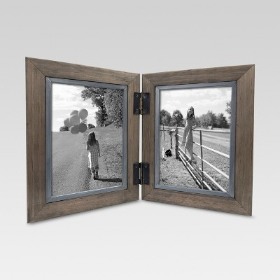 "2 Opening Hinged Windowpane Frame 5""x7"" Coffee - Threshold™"