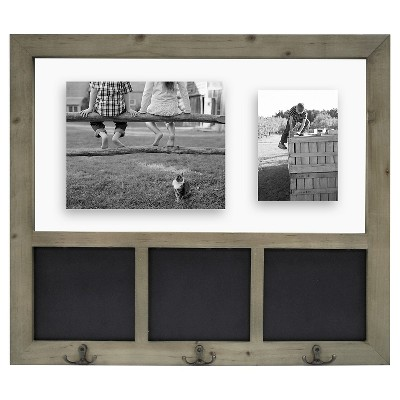 "18""x24"" Grey Float Collage with Chalkboard and Hooks - Threshold™"