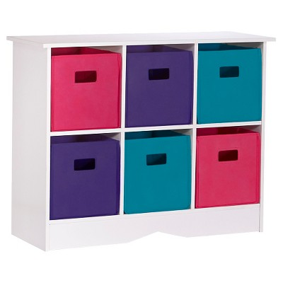 RiverRidge Kids 6 Bin Storage Cabinet - White/Jewel