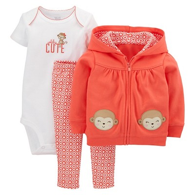 Just One You™Made by Carter's® Newborn Girls' 3 Piece Monkey Set - Coral 9 M