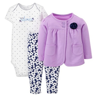 Just One You™Made by Carter's® Newborn Girls' 3 Piece Floral Set - Purple/Navy18 M