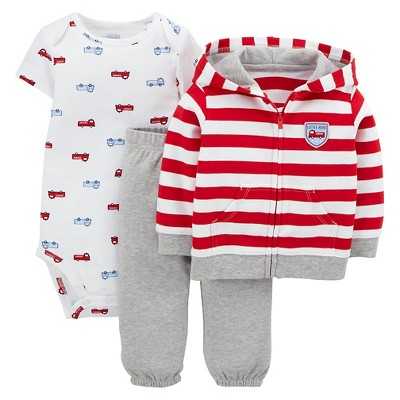 Just One You™Made by Carter's® Newborn Boys' 3 Piece Fire Truck Set - Red/Grey 3 M