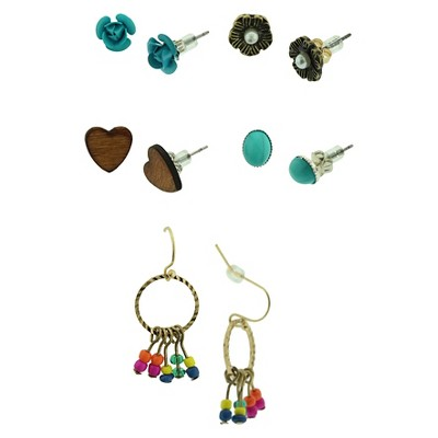 Dangle and Stud Earrings Set of 6 - Turquoise Multicolor