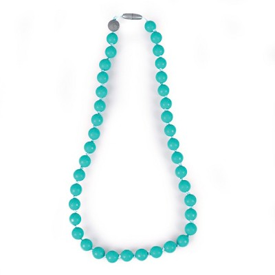 Itzy Ritzy Teething Happens™ Chewable Mom Jewelry - Round Bead Necklace - Turq