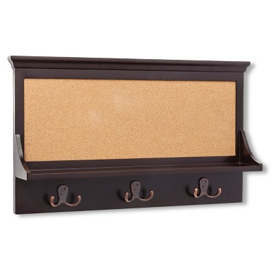 Threshold™ Corkboard Shelf with Hooks - Espresso