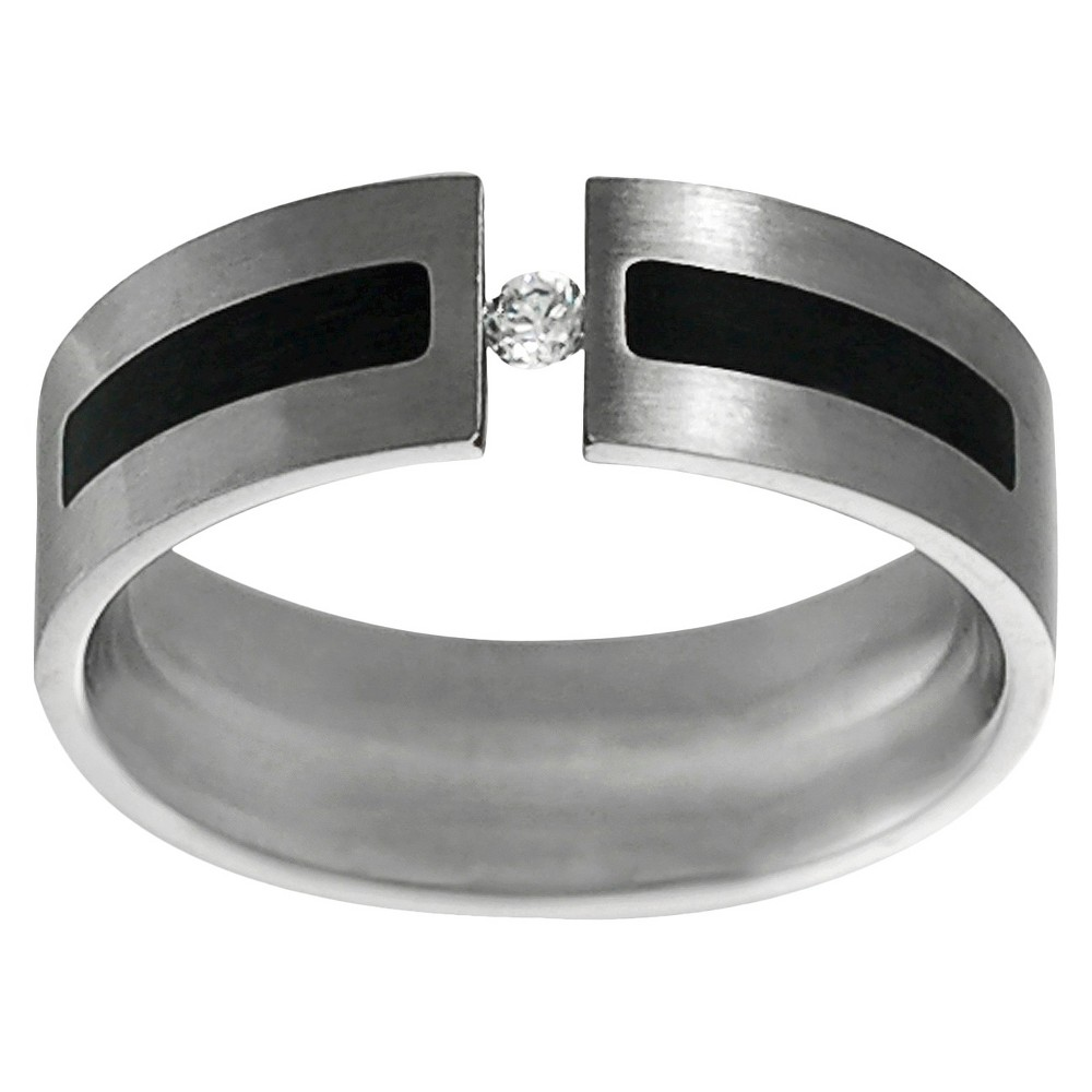 Men's Daxx Stainless Steel Cubic Zirconia Wedding Band - Silver/Black (12) (7MM)