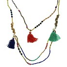 Women's Multiple Strand Necklace with Shell Disc and Seed Bead Tassel Drops - Multicolor