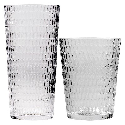 EV Summer Set of 8 Tumbler Glasses with Dots Texture - Clear