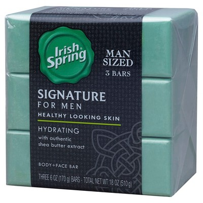 Irish Spring Signature for Men Hydrating Shea Butter Extract Body and Face Bar - 3 Count